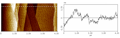 AFM topography image of HOPG (left) and scan profile along the dashed line (right)