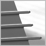 SEM image of 3 cantilevers on chip NSC series