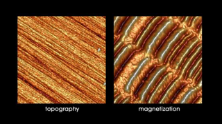Topographic image (left) and Magnetic Force Microscopy (MFM) phase image (right) of a HDD platter surface. The high and low areas on the magnetic scan are regions with different orientation of the magnetic dipoles that store binary 1s and 0s.