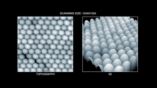 Topography (left) and 3D topography (right) images of nanoparticles