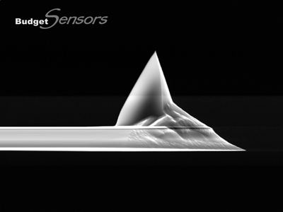 Side view SEM image of uncoated silicon AFM tip l