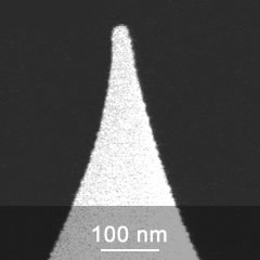 SEM image of platinum coated AFM probe tip close-up