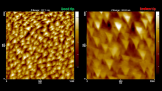 For accurate imaging of small features the AFM tip radius of curvature must be much smaller than the typical feature size. If, on the contrary, the tip is much larger than the features, the result of the measurement is an image of the tip itself! On the left is a tapping mode scan with a brand new sharp probe that reveals nicely the pyramidal structures on our TipCheck. On the right is a scan of the same TipCheck using a damaged tip. One can see clearly the triangular crosssection of the tip pyramid broken-off by improper probe handling.