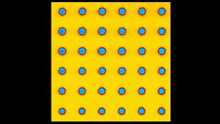 Piezoelectric Force Microscopy (PFM) image of a single crystal, z-cut, Mg:LiNbO3. Ferroelectric domains written by applying -100V to the tip. Blue and yellow areas correspond to positive and negative polariszed domains.